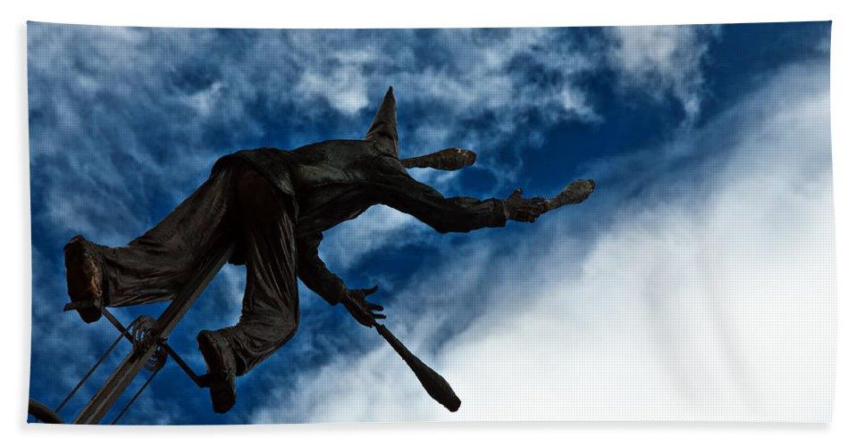 Blue Bath Sheet featuring the photograph Juggling Statue by Jess Kraft