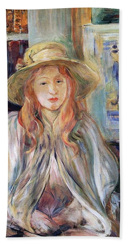 Female; Young Girl; Half Length; Seated; Impressionist; Interior; Domestic; Bookshelf; Shawl Bath Sheet featuring the painting Julie Manet With A Straw Hat by Berthe Morisot