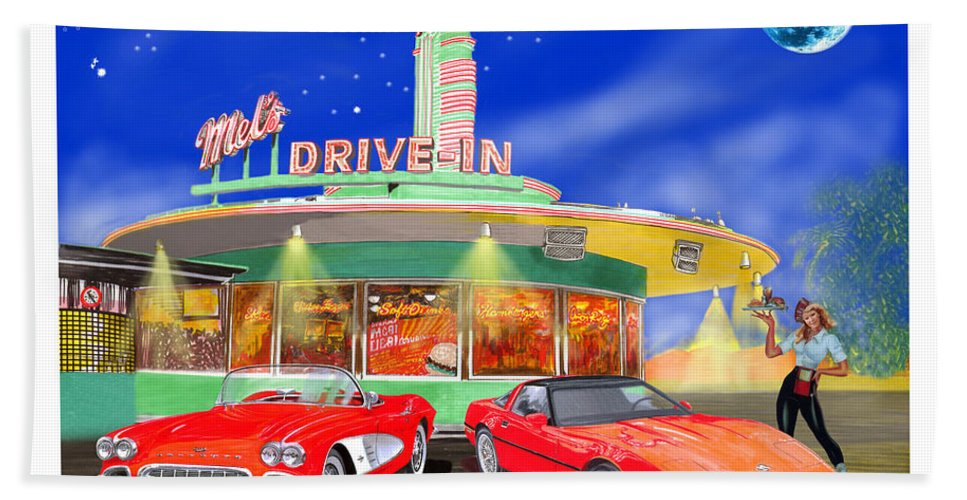 A Pair Of Red Corvettes Painted By Jack Pumphrey Parked At The Next Generation Mel's Drive-in Bath Towel featuring the painting Julies Corvettes by Jack Pumphrey
