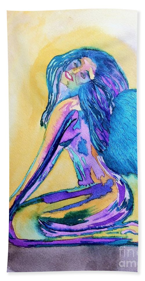 Blue Hand Towel featuring the drawing July by Melissa Darnell Glowacki