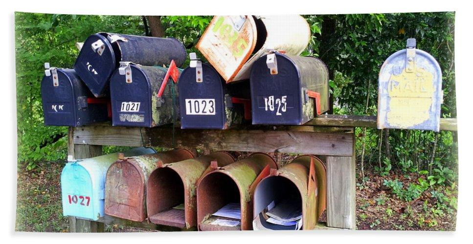 Mailbox Bath Sheet featuring the photograph Jumbled Mailboxes by Carla Parris