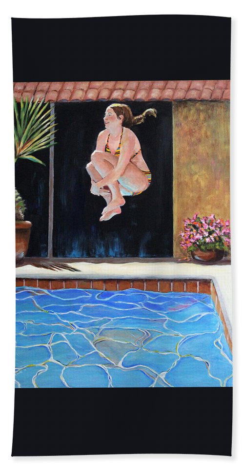 Swim Bath Sheet featuring the painting Jump by Linda Queally