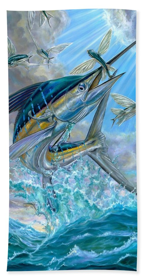 White Marlin Bath Sheet featuring the painting Jumping White Marlin And Flying Fish by Terry Fox