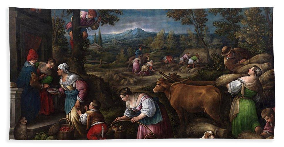 Francesco Bassano Bath Sheet featuring the painting June. Cancer by Francesco Bassano