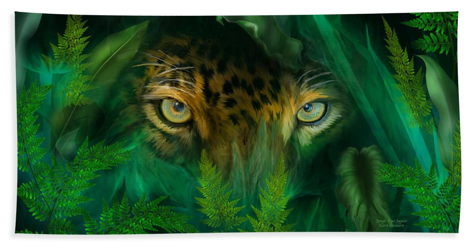 Jaguar Bath Sheet featuring the mixed media Jungle Eyes - Jaguar by Carol Cavalaris