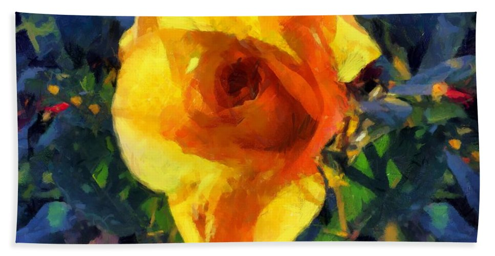 Rose Bath Sheet featuring the painting Jungle Rose by RC DeWinter
