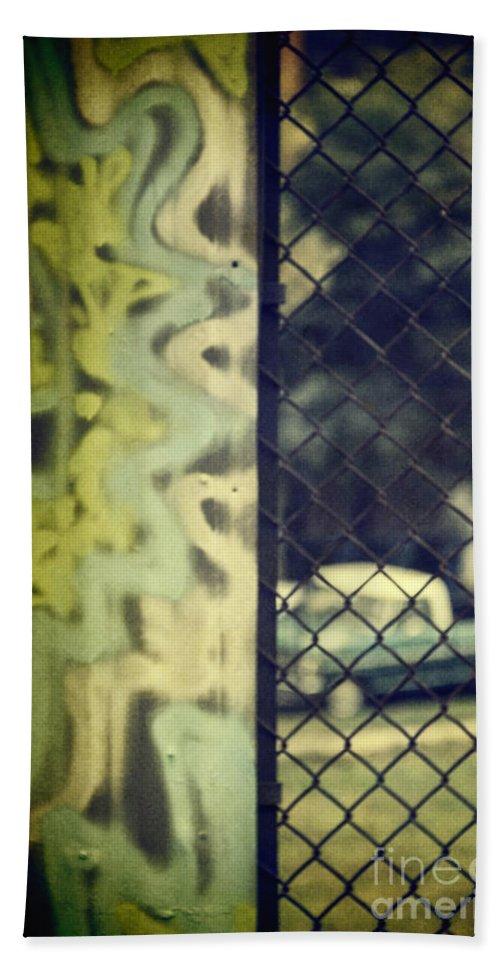 Graffiti Bath Sheet featuring the photograph Junk Yard by Margie Hurwich