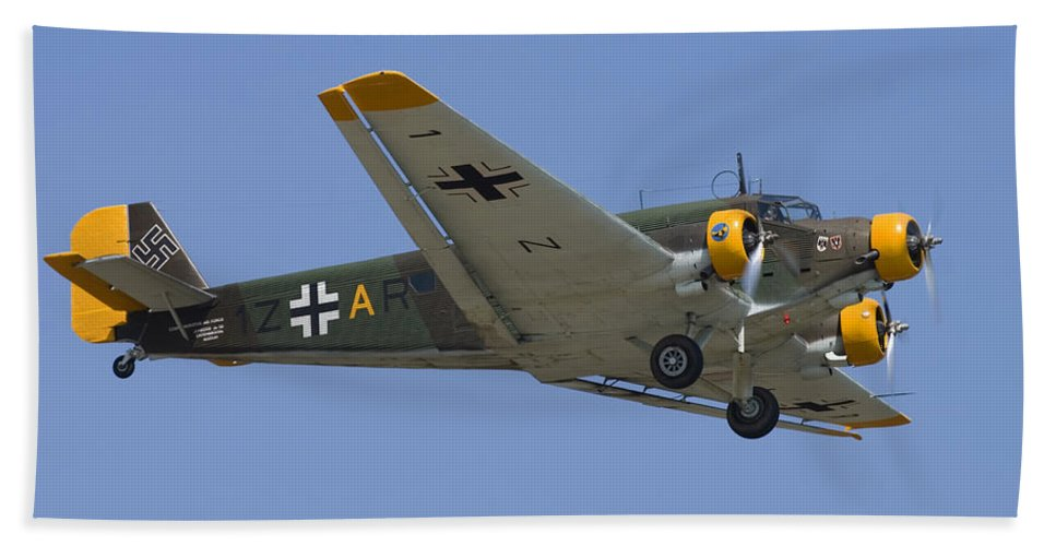 3scape Hand Towel featuring the photograph Junkers Ju-52 by Adam Romanowicz