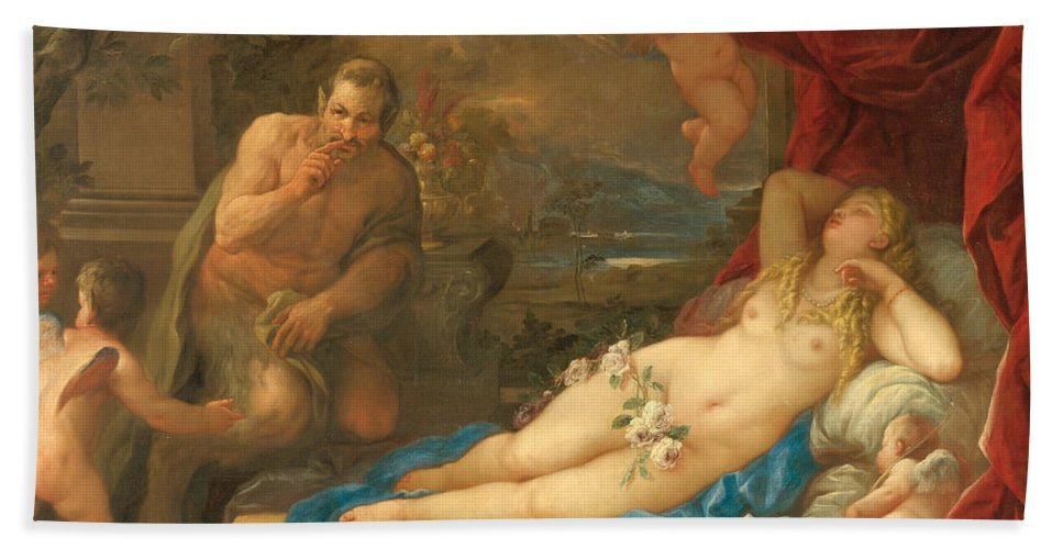 Luca Giordano Hand Towel featuring the painting Jupiter And Antiope by Luca Giordano