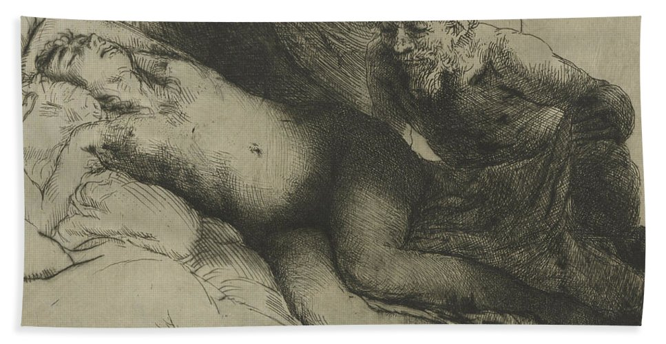 Rembrandt Bath Sheet featuring the drawing Jupiter And Antiope by Rembrandt
