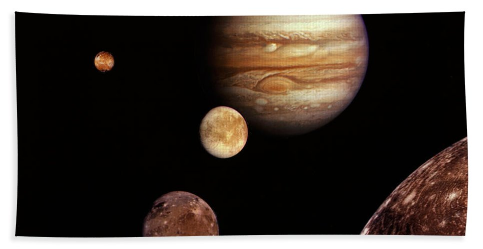 Jupiter Bath Sheet featuring the photograph Jupiter And The Moons by Absinthe Art By Michelle LeAnn Scott