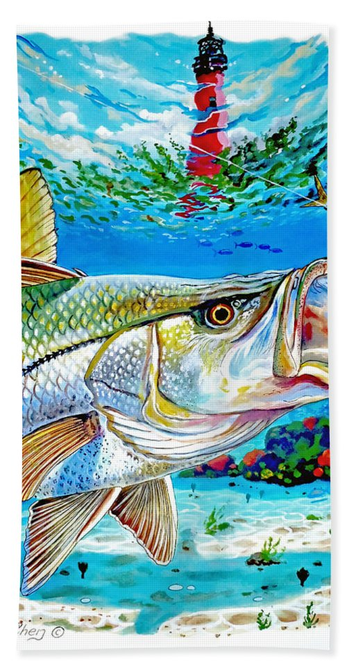 Snook Bath Sheet featuring the painting Jupiter Snook by Carey Chen