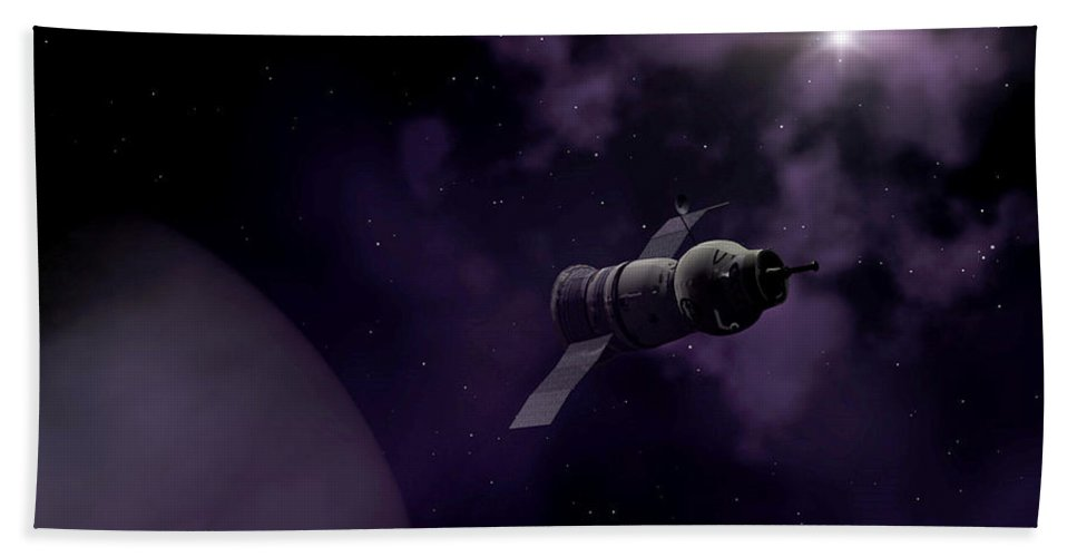 Space Bath Sheet featuring the digital art Jupitor One Exploration by Richard Rizzo
