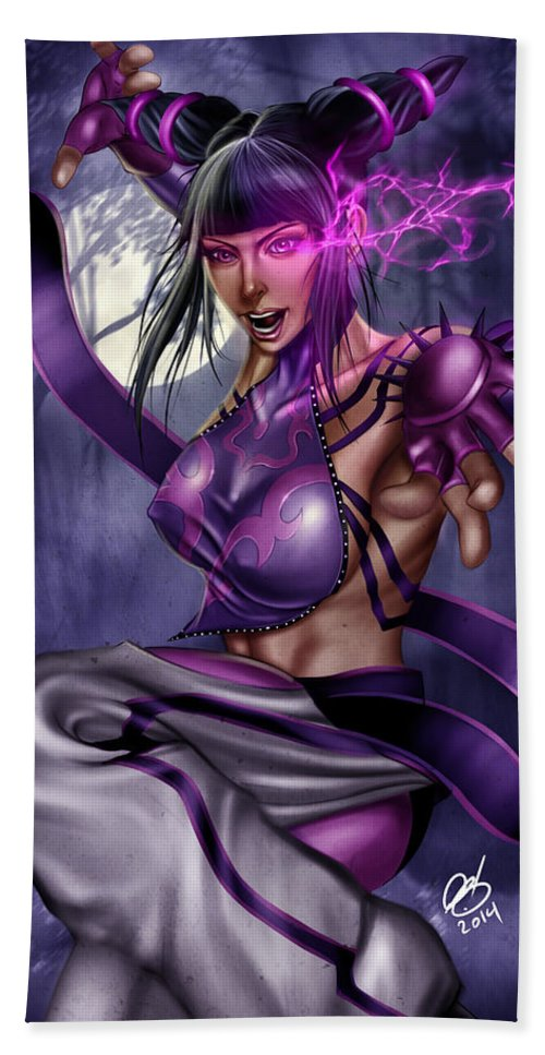 Comic Hand Towel featuring the painting Juri by Pete Tapang
