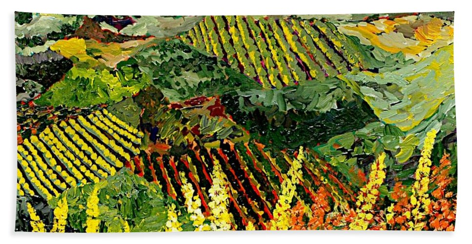 Landscape Bath Towel featuring the painting Just A Little Valley by Allan P Friedlander