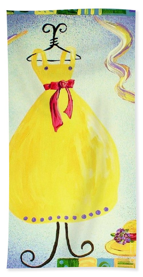 Dress Hand Towel featuring the painting Just A Simple Hat And Dress by Eloise Schneider Mote