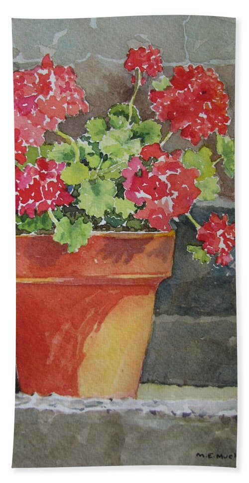 Claypots Bath Towel featuring the painting Just Basking In The Sun by Mary Ellen Mueller Legault