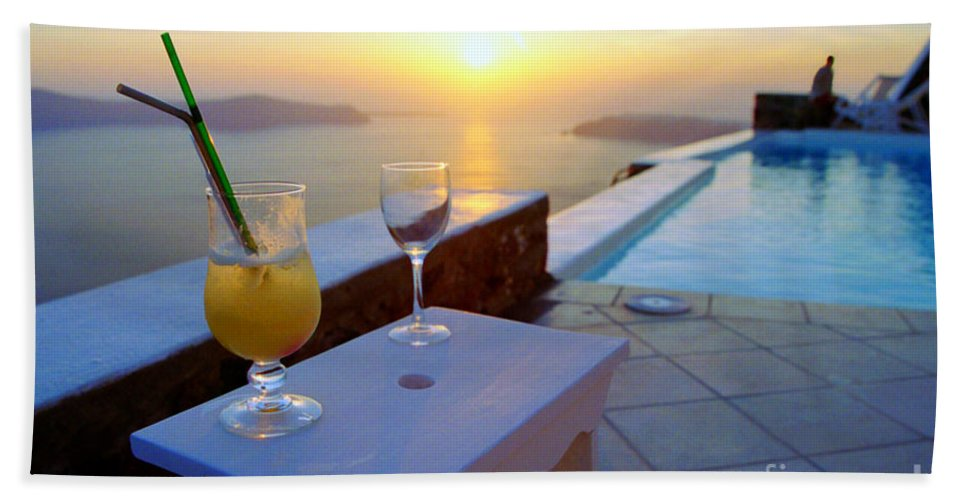 Caldera Hand Towel featuring the photograph Just Before Sunset In Santorini by Madeline Ellis