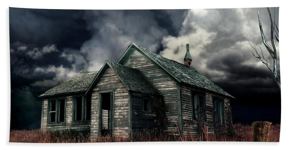 Haunted House Bath Sheet featuring the digital art Just Before The Storm by Aimelle