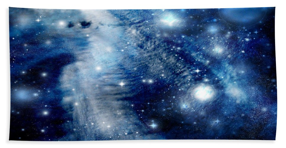 Clouds Bath Sheet featuring the digital art Just Beyond The Moon by Janice Westerberg