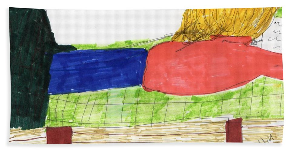 Girl On Bed Reading Blonde Hair Hand Towel featuring the mixed media Just Chillin by Elinor Helen Rakowski