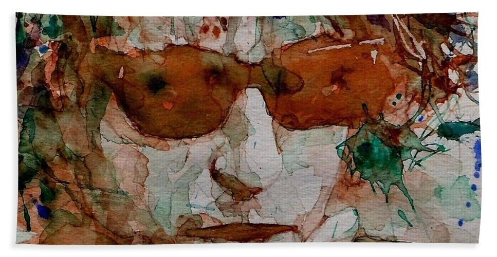 Bob Dylan Bath Towel featuring the painting Just Like A Woman by Paul Lovering