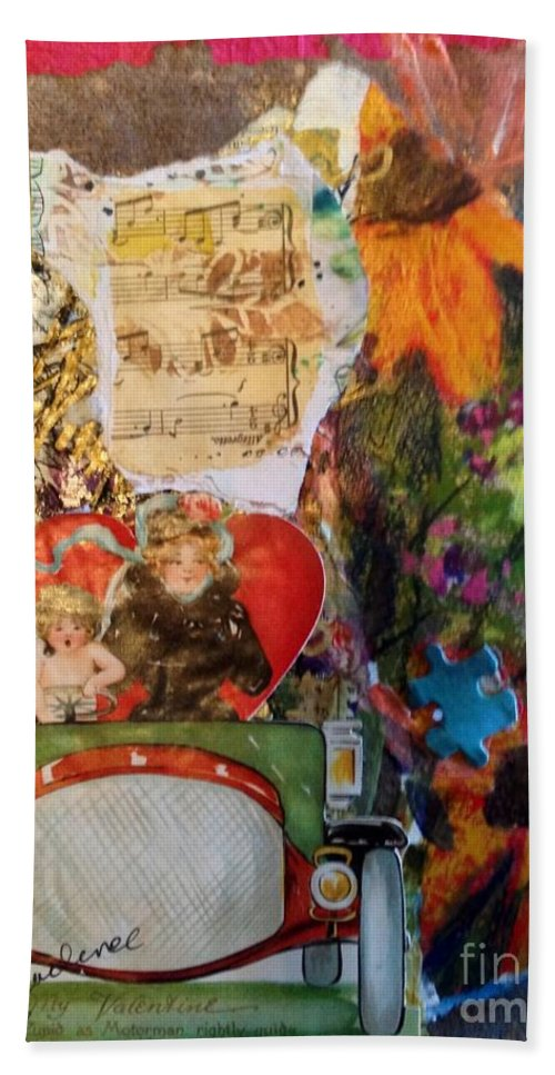 Mixed Media Bath Sheet featuring the painting Just Like Old Times by Sherry Harradence