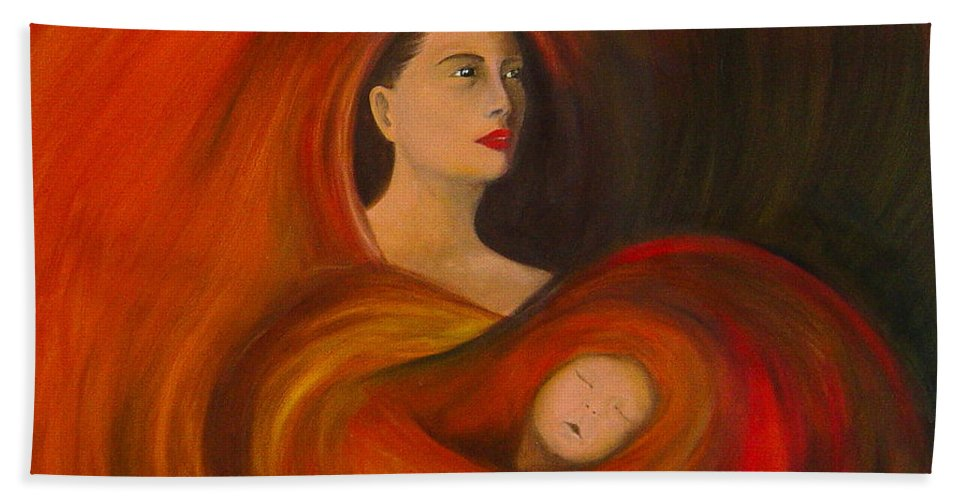 Verve Bath Towel featuring the painting ..just Love.. by Fanny Diaz