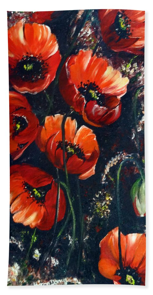 Red Poppies Hand Towel featuring the painting Just Poppies by Karin Dawn Kelshall- Best
