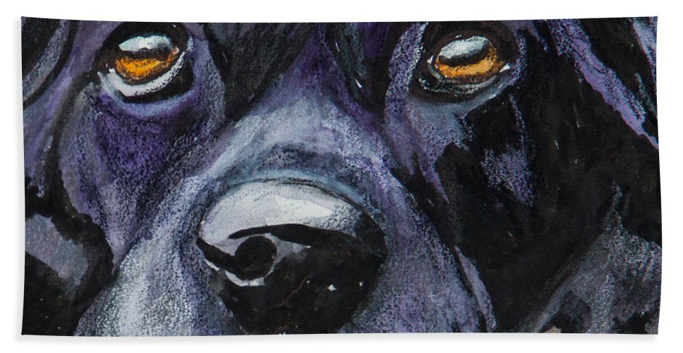 Black Lab Bath Sheet featuring the painting Just Resting by Roger Wedegis
