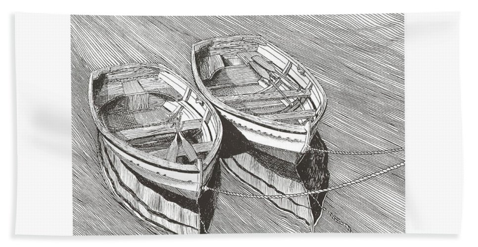 Pen @ Ink Dinghy Art Bath Sheet featuring the drawing Two Dinghy Friends Just The Two Of Us by Jack Pumphrey