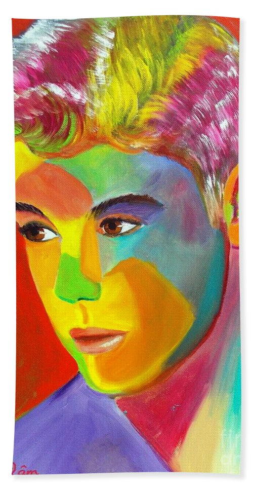 Autism Bath Sheet featuring the painting Justin Bieber 1 by To-Tam Gerwe