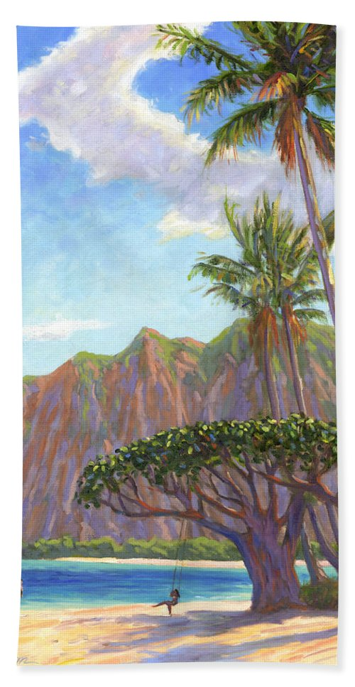 Kaaawa Hand Towel featuring the painting Kaaawa Beach - Oahu by Steve Simon