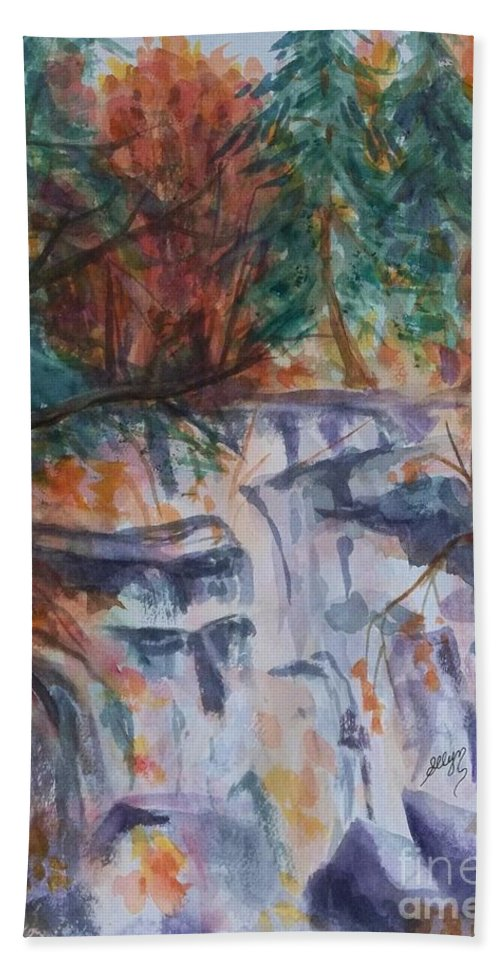 Waterfall Bath Sheet featuring the painting Kaaterskill Falls In The Catskills by Ellen Levinson