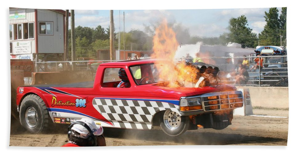 Lucas Truck Pulling Bath Sheet featuring the photograph Kaboom by Eric Swan