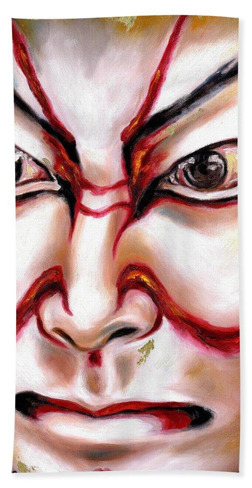 Kabuki Bath Towel featuring the painting Kabuki One by Hiroko Sakai