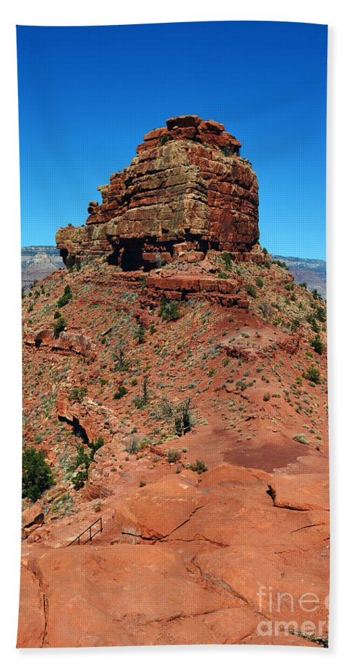 Grand Canyon Bath Towel featuring the photograph Kaibab Trail Red Cap Rock Formation Grand Canyon National Park by Shawn O'Brien