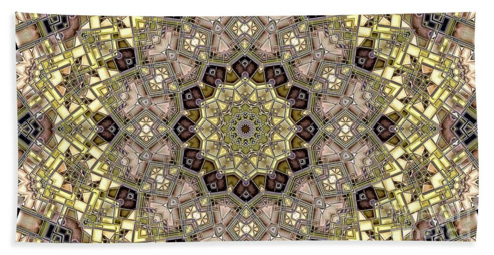 Kaleidoscope Bath Sheet featuring the digital art Kaleidoscope 50 by Ron Bissett