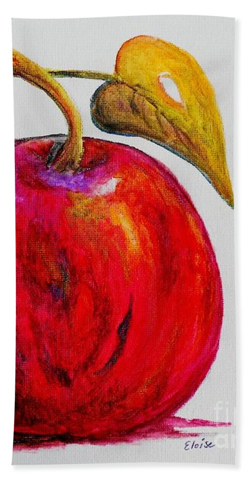 Apple Hand Towel featuring the painting Kaleidoscope Apple -- Or -- Apple For The Teacher by Eloise Schneider Mote