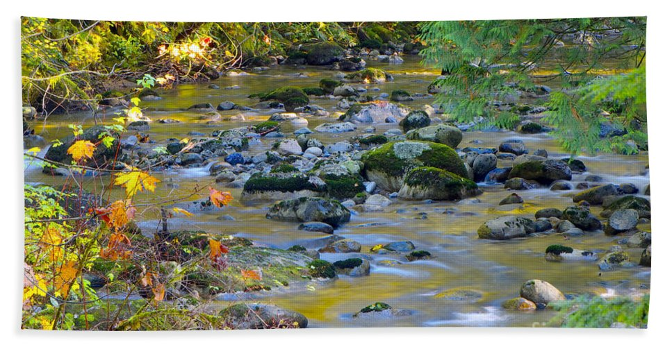 Kanaka Creek Hand Towel featuring the photograph Kanaka Creek In The Fall by Sharon Talson