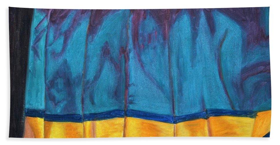 Kanchee Bath Towel featuring the painting Kanchi Saree by Usha Shantharam