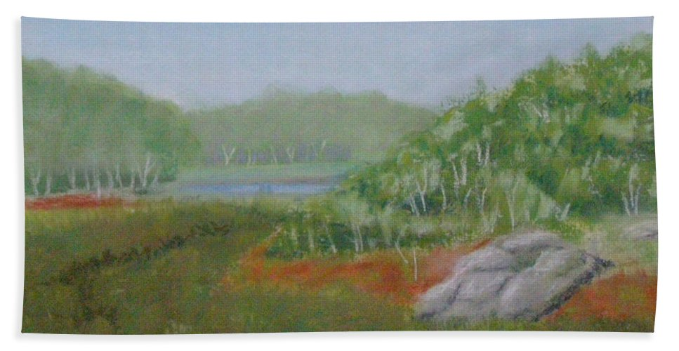 Landscape Bath Sheet featuring the painting Kantola Swamp by Lynn Quinn