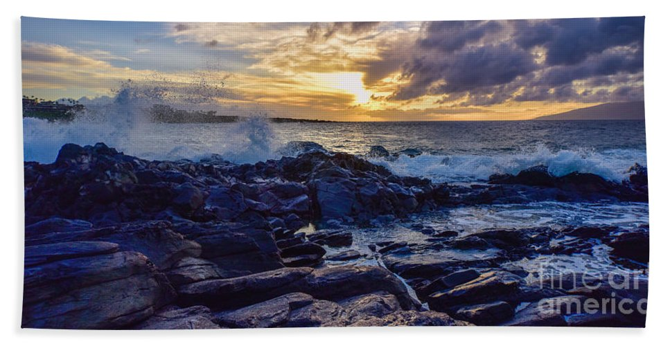 Sunset Hand Towel featuring the photograph Kapalua Sunset by Joy McAdams