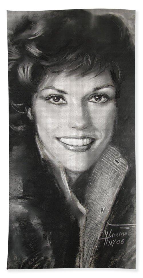 Pop Bath Sheet featuring the drawing Karen Carpenter by Viola El