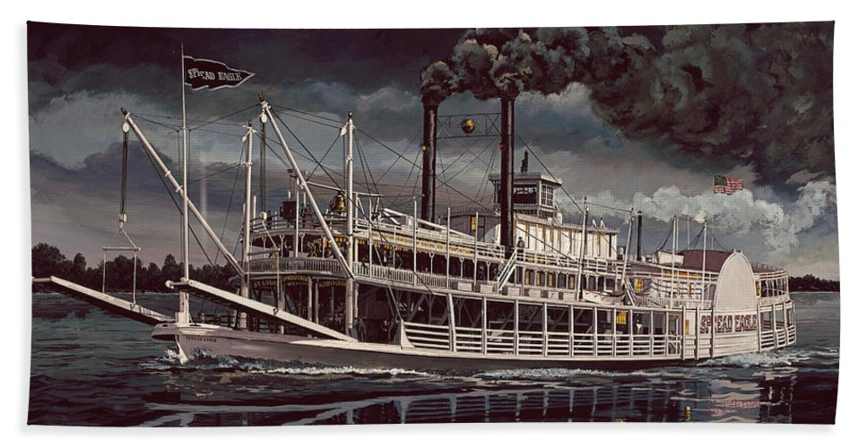 Don Langeneckert Bath Sheet featuring the painting Spread Eagle Steamboat Night by Don Langeneckert