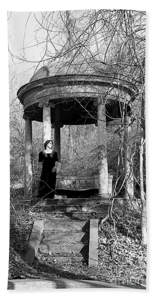 Black-white Hand Towel featuring the photograph Kathy In Gazebo 1979 by Ed Weidman