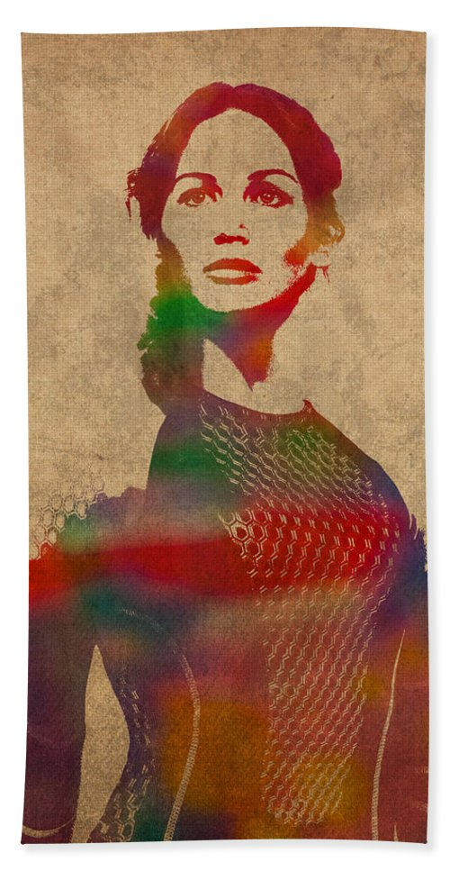 Katniss Hand Towel featuring the mixed media Katniss Everdeen From Hunger Games Jennifer Lawrence Watercolor Portrait On Worn Parchment by Design Turnpike