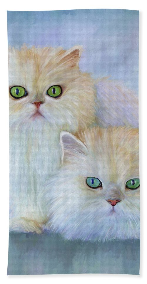 Cat Bath Towel featuring the painting Katrina And Bjorn by David Wagner