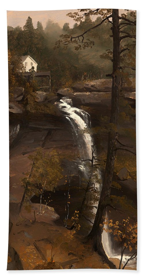 Painting Bath Sheet featuring the painting Kauterskill Falls by Mountain Dreams