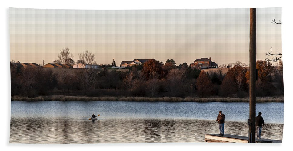 Autumn Hand Towel featuring the photograph Kayak At Sunset by Edward Peterson